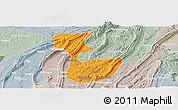 Political Panoramic Map of Chongqing Shiqu, lighten, semi-desaturated