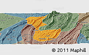 Political Panoramic Map of Chongqing Shiqu, semi-desaturated