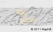 Shaded Relief Panoramic Map of Chongqing Shiqu, desaturated