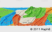 Shaded Relief Panoramic Map of Chongqing Shiqu, political outside