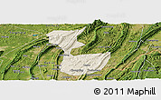 Shaded Relief Panoramic Map of Chongqing Shiqu, satellite outside