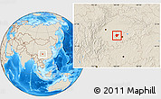 Shaded Relief Location Map of Dazu