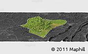 Satellite Panoramic Map of Dazu, darken, desaturated