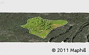 Satellite Panoramic Map of Dazu, darken, semi-desaturated