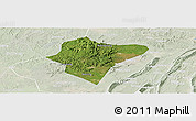 Satellite Panoramic Map of Dazu, lighten