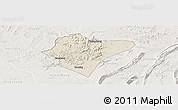 Shaded Relief Panoramic Map of Dazu, lighten