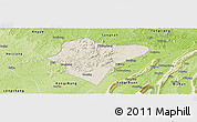 Shaded Relief Panoramic Map of Dazu, physical outside
