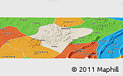 Shaded Relief Panoramic Map of Dazu, political outside