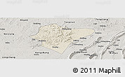 Shaded Relief Panoramic Map of Dazu, semi-desaturated