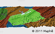 Political Panoramic Map of Fuling, darken