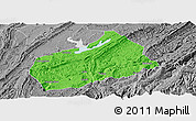 Political Panoramic Map of Fuling, desaturated