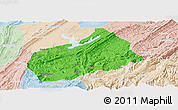 Political Panoramic Map of Fuling, lighten
