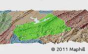 Political Panoramic Map of Fuling, semi-desaturated