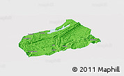 Political Panoramic Map of Fuling, single color outside