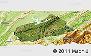 Satellite Panoramic Map of Fuling, physical outside