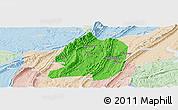 Political Panoramic Map of Jiangbei, lighten