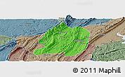 Political Panoramic Map of Jiangbei, semi-desaturated