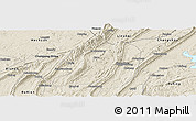 Shaded Relief Panoramic Map of Jiangbei