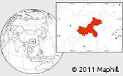 Blank Location Map of Chongqing