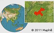 Satellite Location Map of Chongqing
