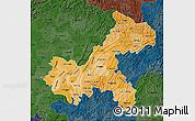 Political Shades Map of Chongqing, darken