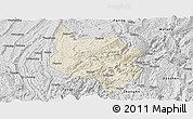 Shaded Relief Panoramic Map of Nanchuan, desaturated