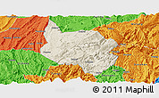 Shaded Relief Panoramic Map of Nanchuan, political outside