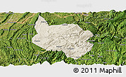 Shaded Relief Panoramic Map of Nanchuan, satellite outside