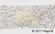 Shaded Relief Panoramic Map of Nanchuan, semi-desaturated