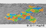 Political Panoramic Map of Chongqing, desaturated