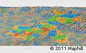 Political Panoramic Map of Chongqing, semi-desaturated
