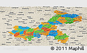 Political Panoramic Map of Chongqing, shaded relief outside