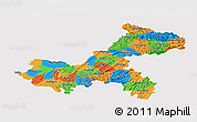 Political Panoramic Map of Chongqing, single color outside