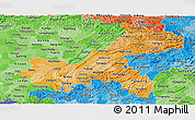 Political Shades Panoramic Map of Chongqing