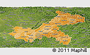 Political Shades Panoramic Map of Chongqing, satellite outside