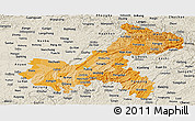 Political Shades Panoramic Map of Chongqing, shaded relief outside