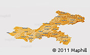 Political Shades Panoramic Map of Chongqing, single color outside