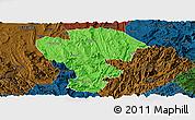 Political Panoramic Map of Qijiang, darken
