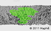 Political Panoramic Map of Qijiang, desaturated