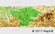 Political Panoramic Map of Qijiang, physical outside
