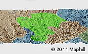 Political Panoramic Map of Qijiang, semi-desaturated