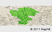 Political Panoramic Map of Qijiang, shaded relief outside