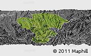 Satellite Panoramic Map of Qijiang, desaturated