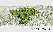 Satellite Panoramic Map of Qijiang, lighten