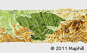 Satellite Panoramic Map of Qijiang, physical outside