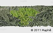 Satellite Panoramic Map of Qijiang, semi-desaturated