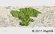 Satellite Panoramic Map of Qijiang, shaded relief outside