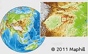 Physical Location Map of Wanxian Shi