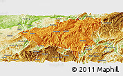Political Panoramic Map of Wulong, physical outside