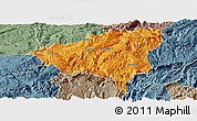Political Panoramic Map of Wulong, semi-desaturated